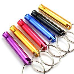 Vente en gros Mini Aluminium Sifflet Chiens Pour La Formation Avec Porte-clés Porte-clés En Plein Air Survie En Urgence Explorer Livraison gratuite