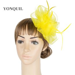 Crinoline Hair NZ - Multiplel color crinoline fascinator headwear feather colorful mesh event show hair accessories millinery cocktail hat MYQ041