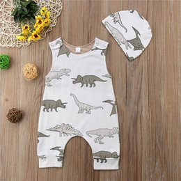 animal jumpsuits NZ - Animal Newborn Baby Boys Dinosaur White Romper With Hat Baby Jumpsuit Sleeveless Cute Animal Bodysuit Outfit Kid Clothing set 0-24M
