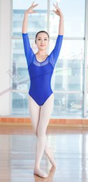 $enCountryForm.capitalKeyWord NZ - Womens summer lace leotard blue&red girls half sleeve tutu swan lake T shirt adults ballet dance clothes dancer bodysuit wear