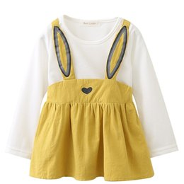 d0c38de01374 Bear Leader Bunny Belt Skirts Baby Infant Girls Rabbit Ears Design Printed  Overalls Long Sleeve Tops Dresses Autumn Cotton Clothing Sets