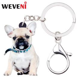 595cc603219 WEVENI Acrylic Collar French Bulldog Pug Dog Key Chains Keychains Rings  Jewelry For Women Girls Handbag Car Purse Charms Animal