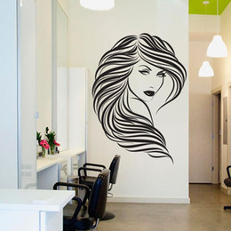 hair wall sticker Canada - Free shipping Home Decor Sexy Girl Wall Stickers Woman Fashion Hair Beauty Salon Barbershop