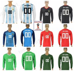 7aea46c6f08 Argentina Long Sleeve Jersey 2018 World Cup 18 19 Soccer Men Argentine Football  Shirt Uniform Camiseta de futbol Home White Green Black Red