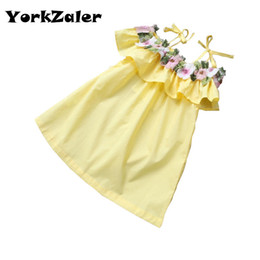 $enCountryForm.capitalKeyWord Canada - New lovley girls dress flower summer shouldess elegant party dress celebration baby girl clothes for kids and children clothing