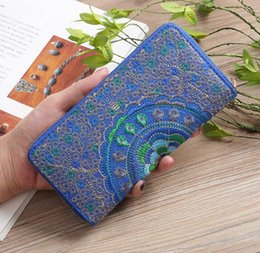 Embroidered Wallet Women NZ - Wholesale high quality embroidered Women wallet fashion clutch long wallet famous designer Women Handbag purse Travel Bags Female wallet
