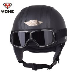 Pilot motorcycle helmets online shopping - YOHE Leather Motorcycle Helmet Retro Pilot Aviator Scooter Vintage Half Helmets Casque Moto Casco with High Quality A121 Goggles