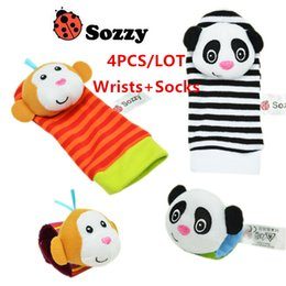 Baby Rattles Australia - 2000pcs New arrival sozzy Wrist rattle & foot finder Baby toys Baby Rattle Socks Lamaze Baby Rattle Socks and wristbands