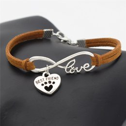 $enCountryForm.capitalKeyWord NZ - Fashion Infinity Love Pets Cats Dogs Paw Best Friend Heart Pendant Bracelet Women Men Braided Brown Leather Suede Rope Chain Wrist Band Gift