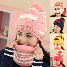 gold novelty suits 2019 - Autumn And Winter Day Cold-proof Ma'am Wool beret Three-piece Keep Warm Mustache Knitting Cap Hair Ball Suit Hat discoun