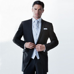 best suits for prom Australia - 2018 Men Suit Black Peaked Lapel Wedding Suits For Man Bridegroom Groomsmen Custom Made Slim Fit Formal Tuxedos 3Piece Best Man Prom Simple