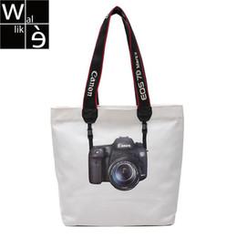 $enCountryForm.capitalKeyWord NZ - Wallike Women Canvas Shopping Bag Lady Tote Bag Cute Camera Pattern Printed Casual Shoulder Bag Daily Bookbag Summer Beach Bags