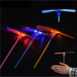 Dragonfly Helicopter Toy NZ - 120PCS LED Lighted Flying Bamboo Dragonfly Helicopter Boomerang Outdoor Frisbee Flash Children Kids Boys Toys Xmas gift Brighting Lighting