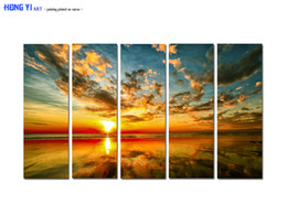 $enCountryForm.capitalKeyWord NZ - Large Hot Modern Contemporary Home Decor Wall Art Australia Sunset Seascape painting Printed on canvas 5 panel picture Living Room Decor