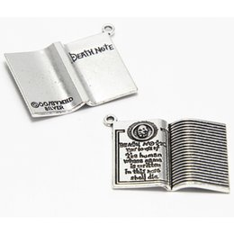 Death penDants online shopping - 4pcs Death note Charms Antiqued silver Tone Halloween Theme Gothic Book charm pendants x27mm