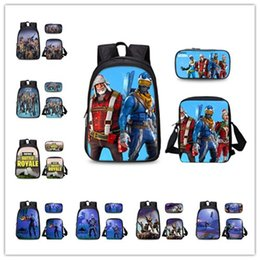 11 inch tablets cases 2018 - 3 pcs  set Fortnite shoulder Bag + Pencil Case + lunch Bag messager crossbody Belt bags students School Bag Teenage Back