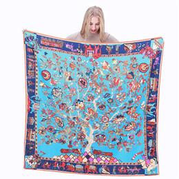 Chinese  New Twill Silk Scarf Women Charm Life Tree Print Square Scarves Fashion Wrap Female Foulard Large Hijab Shawl Neckerchief 130*130CM manufacturers