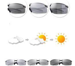 Фотохромные солнцезащитные очки хамелеона Мужчины Дизайнер маркеров Поляризованные  солнцезащитные очки Мужские цветные очки для очков LJJK995 b4e6dbae6f3