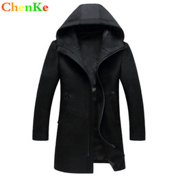 333e723d092f ChenKe Long Jackets & Coats Single Breasted Casual Mens Wool Blend Hooded  Zipper Jackets Full Winter For Male Wool Overcoat