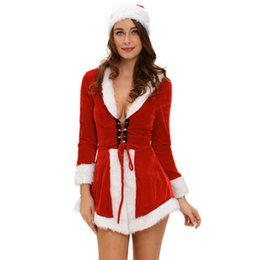 $enCountryForm.capitalKeyWord UK - Winter Christmas Adult Sexy Costumes For Women Two Piece Chic Velvet Santa Costume LC7275 Disfraces Halloween Mujer Black Friday