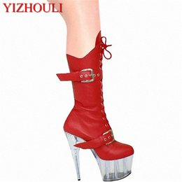 Wholesale 15cm sexy ladies Fashion buckle PU leather knee high boots winter inch platform high heel boots for women Fetish Dance Shoes
