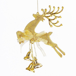 Wholesale Bell Housing NZ - Golden Running Deer with Bells For Home House Decor Hanging Ornament Pendent For Christmas New Year Party Decoration Hot Sale