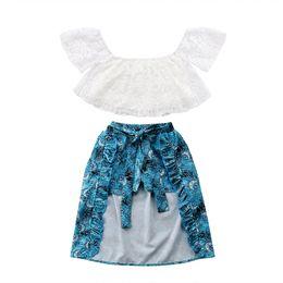 $enCountryForm.capitalKeyWord UK - Hot Sale 3pcs Girls Clothes Set White Lace Off-shoulder Top +Blue Skirts + Shorts Princess Party Holiday Clothes