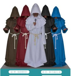 $enCountryForm.capitalKeyWord NZ - Medieval Cloak Robe Gown Renaissance Monk Costume Cowl Friar Clothing Priest Medieval Halloween Cosplay Costume For Women Men