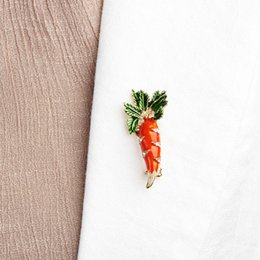 green leaf clothes Australia - Blucome Cute Orange Carrot Brooch Enamel Green Leaves Gold-color Pins Suit Scarf Clothes Corsage Jewelry Women Men Kids Gifts