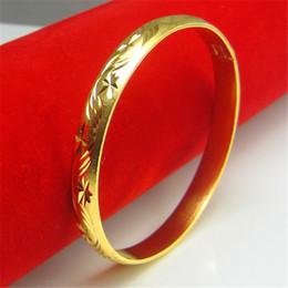 $enCountryForm.capitalKeyWord Canada - Gorgeous 18 K Bamboo Leaves Carved Hongkong Gold Shop Handmade Quality Bangles Cuff Bracelets Wedding jewelry