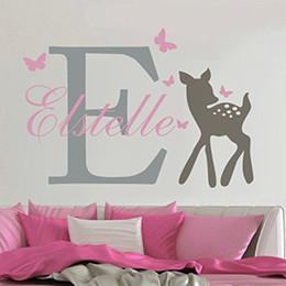 Wall Stickers Name Australia - YOYOYU Removable Custom Name Elephant Butterfly Wall Decal for Kid Baby Room Art Mural Vinyl Wall Sticker Girls Room Decor Y-73 Y18102209