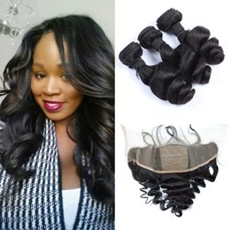 Discount silk frontal bundles - 13x4 Indian Loose Wave Silk Frontal Closure With Bundles Natural Black Virgin Indian Human Hair Weaves And Frontal G-EAS