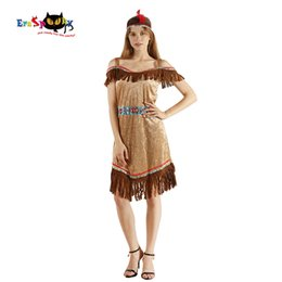 Discount wild woman costume - Eraspooky Sexy Native American Indian Ladies Dress Halloween Costume for Women Savage Wild West Carnival Party Fancy Dre