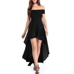 0270ffb80 2018 mujeres del verano fuera del hombro vestido sexy manga corta alto bajo  dobladillo Club cóctel fiesta noche vestidos de patinador