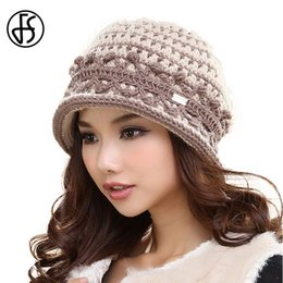 $enCountryForm.capitalKeyWord NZ - FS Vintage Beige Pink Wine Red Winter Knit Wool Warm Hat Short Brim Patchwork Knitted Casual Caps For Women