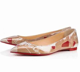 ShoeS paper box online shopping - Handmade Shoes Brand Men New Arrival Red Bottom Women Shoes Paper bag pattern Pointed Perfect Red Sole Flat Shoes with box dust bag