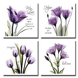 Flower Canvas Prints NZ - HD Vintage Home Decoration 4 Pieces Love Purple Flowers Framework Pictures Paintings On Canvas Posters And Prints On The Wall