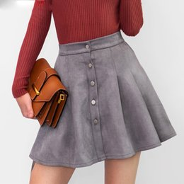 faux leather skater skirt UK - Women Multi Colors Suede A-Line Mini Skirt Autumn Winter Buttons Girls Skater Skirt High Waist Femininas
