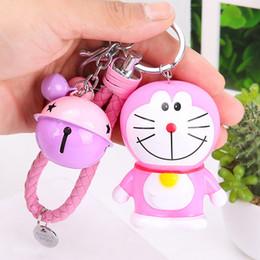 Doraemon Free Gift Australia - Cute Cartoon Doraemon Doll Keychain Leather Rope Key Holder Metal Bell Key Chain Keyring Charm Bag Auto Pendant Gifts
