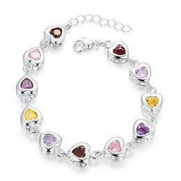 $enCountryForm.capitalKeyWord Australia - Color stone heart bracelet sterling silver plated bracelet ; Brand new fashion men and women 925 silver bracelet SPB368