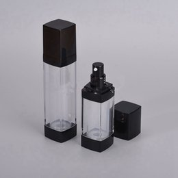 airless containers wholesale UK - 30ml 50ml Portable Cosmetic Clear Airless Bottles Plastic Pump Lotion Bottle Containers with Black Lids F1096
