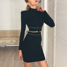 Black chiffon tunic dress online shopping - Knitting Dress Female Long Sleeve High Waist Bandage Tunic Mini Dresses For Women Elegant Fashion
