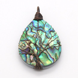 Charms Wire Wrapping UK - Popular Copper Wire Wrapped Water Drop Natural Abalone Shell Tree Of Life Pendant Fashion Jewelry