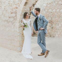 Linen suits groom beach wedding online shopping - Blue Linen Men Wedding Suits Beach Wedding Slim Fit Groom Tuxedo Custom Made Prom Wear Best Man Blazer Jacket Pants Vest Pieces