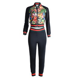 China See Though Mesh Women Floral Printed Sport Tracksuits Women long Sleeves Top With Pant Sexy Night Club Suit supplier long black yoga pants suppliers