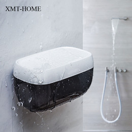 Paper Roll Holders Australia - XMT-HOME toilet paper holder plastic creative tissue canister waterproof multifunctional kitchen room paper box storage rack 1pc