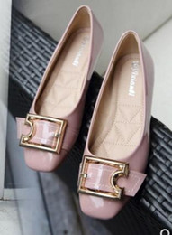 flat shoes korean styles 2018 - Free send Single shoes female summer 2017 new style square head flat shoes Korean big size women's shoes discount f