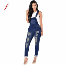 f1a4e2ce102 Feitong Womens Jeans Jumpsuit Female Denim Overalls Spring Autumn Casual  Basic Denim Pants Large Size Ripped Hole Pants Jeans S18101603
