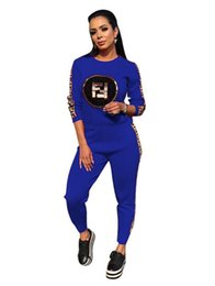 Discount neo box - neo Women Sequins Decal Elastic force Letter Ribbon Two Piece Set Tracksuits Female Street And Jogger Set Suits
