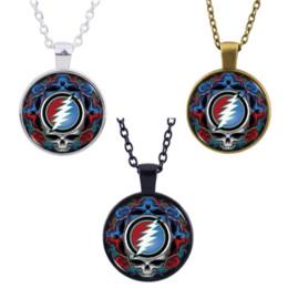 Encanto Grateful Dead Skeleton Necklace Colgante Cabujón de cristal Accesorios Creativo Unisex Jewelry Gifts en venta